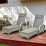 Sonnenliege Gartenliege Tisch 3er-Set Gartenmöbel Polyrattan Metall Grau - 2