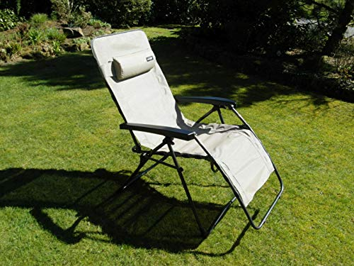 Westfield Home & Garden Relax Lounger braun beige Hochlehner Gartenliege Textilene Bezug wasserabweisend bis 140 kg belastbar