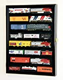 sfDisplay.com,LLC. Small HO Scale Train Model Trains Locomotive Engine Display Case Cabinet Wall Rack w/ 98% UV Lockable (Black Wood Finish)