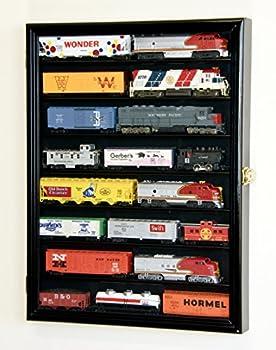 sfDisplay.com,LLC Small HO Scale Train Model Trains Locomotive Engine Display Case Cabinet Wall Rack w/ 98% UV Lockable  Black Wood Finish