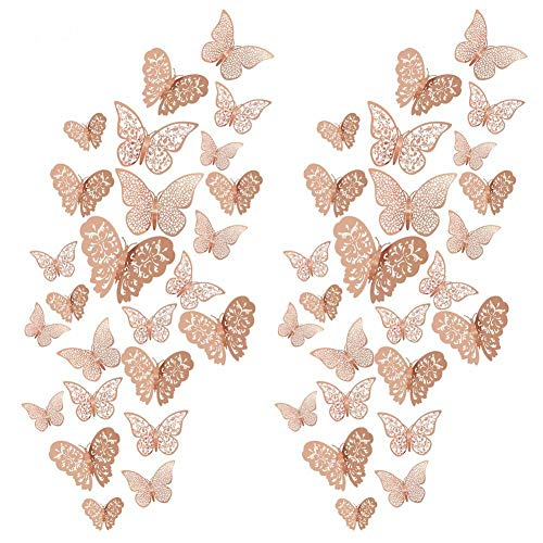 Tagaremuser 96 Pieces 3D Butterfly Wall Decals Sticker Wall Decal Decor Art Decorations Sticker Set for Room Home Classroom Offices Bathroom Living Room Decor