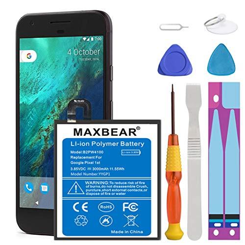 Google Pixel Battery, Upgraded MAXBEAR 3000mAh Li-Polymer Battery B2PW4100 Replacement for HTC Google Pixel 5