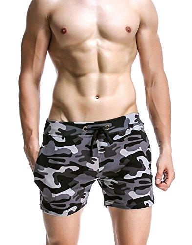 Honeystore Herren Sommer Strand Shorts Badeshorts Badehose Camouflage Boardshorts mit Muster Grau S