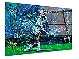 DECLINA - Cuadro plexiglás decorativo de pared, reproducción de pintura Tennisman, cuadro Plexiglá, impresión sobre cristal acrílico plexiglás, cuadro de pared, decoración moderna, 80 x 50 cm