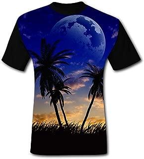 Mens T Shirt Creative Hawaiian Night Summer Casual Short Sleeve Tee Creative 3D Printed Hipster Design