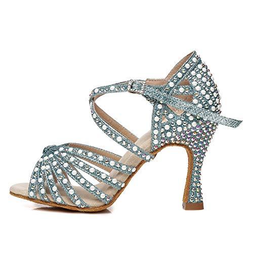 AOQUNFS Zapatos de Baile Latino Mujer Salsa Tacon Alto Zapatos de Baile Mujer Salsa y Bachata Económicos,YCL429-Azul-5,EU 39