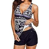 Luckycat Tankini Set Traje De Baño - Mujer Dos Piezas Trajes de baño Mujer Tankini Talla Grande Traje de baño Bikini Set Cintura Alta Sexy Top Pantalones