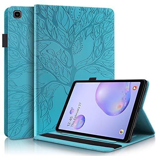 LUCASI - Funda para Samsung Galaxy Tab A de 8,0 pulgadas (piel sintética, tarjetero, tarjetero, soporte para bolígrafo), color azul
