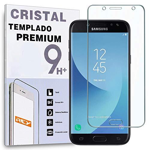 REY Protector de Pantalla Curvo para Samsung Galaxy J5 2017, Transparente, Cristal Vidrio Templado Premium, 3D / 4D / 5D