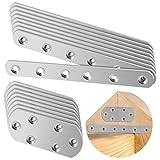 20 piezas de acero inoxidable perforado, conector plano, dos tamaños, placa de reparación, conector de metal, placa perforada con 120 tornillos (tamaño: 166 x 20 mm y 85 x 37 mm, grosor: 2,32 mm)