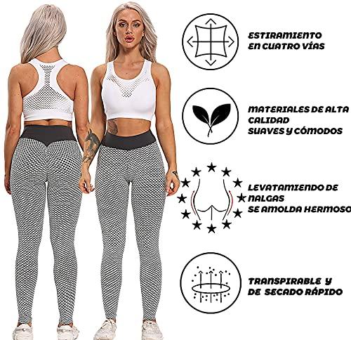 FITTOO Leggings Mallas Mujer Pantalones Deportivos Yoga Alta Cintura Elásticos y Transpirables Gris Mediana
