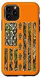 iPhone 11 Pro Orange Camouflage American USA Flag Bass Fisherman Fishing Case