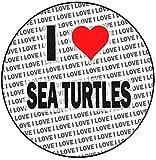Decoración para tarta con diseño de tortugas marinas con texto en inglés 'I Love Sea Turtles ' (20 cm)