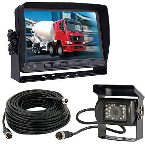 12V-24V Cámara de aparcamiento para vehículo y sistema de monitor de 7 pulgadas TFTLCD HD Monitor con parasol +18LED visión nocturna marcha atrás cámara de visión trasera para RV/Bus/Remolque/Camión