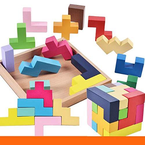 aolongwl Rompecabezas de los niños rompecabezas de madera rompecabezas tridimensional cubo juego de rompecabezas para los niños creatividad juguetes educativos juego aprendizaje conjunto