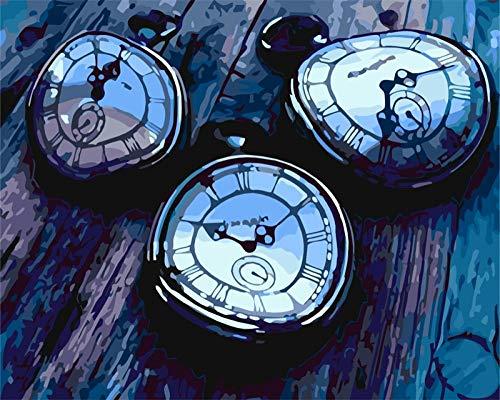 Dibujo de adultos por número Reloj Pintura digital DIY Digital Lienzo Kit Manualidades para Adultos y niños decoración hogar 40x50cm(sin Marco)
