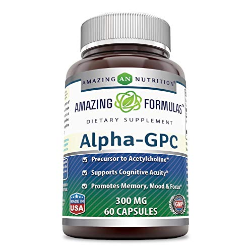 Amazing Formulas - Alpha-GPC Dietary Supplement - 300 Milligrams - 60 Capsules (Non-GMO,Gluten Free) Promotes Positive Mood, Better Concentration and Memory * - Supports Acetylcholine Function *