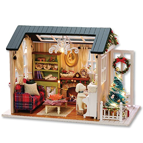 DIY Miniature Dollhouse Kit with Furniture Handmade Dolls House Miniature Kit Plus Music Movement and LED Lights,1:24 Scale Creative Room Idea (Holiday time)