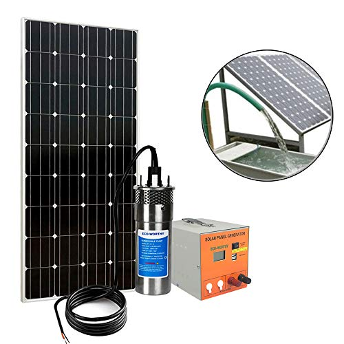 ECO-WORTHY Rechargeable160W Solar Water Pump Kit: 160W Mono Solar Panel + Solar Pond Pump + 7Ah Battery Back Solar Panel Generator for Farm, Ponds, Irrigation, and Camping