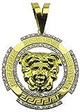 MegaJoyas Colgante Circular Oro de Ley 18 Klts con Greca, Medusa y Circonitas.