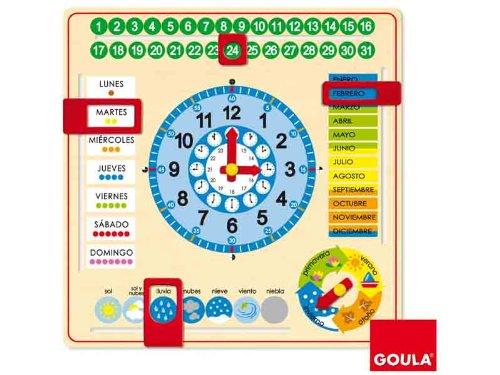 Goula Diset 51305 Uhr und Kalender für Kinder zum Lernen, auf Spanisch, Unterrichtsmaterial