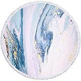 Toalla de Playa Redonda Textura de mármol Manta de Playa Redonda Impresa Manta de Microfibra Muelle al Aire Libre y Manta de Borla de Arena de la bahía Manta-C