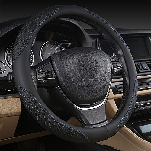 coofig Funda para volante de coche con piel sintética duradera, universal de 15 pulgadas, ajuste para coche, camión, SUV, transpirable, antideslizante, para volante para hombres y mujeres