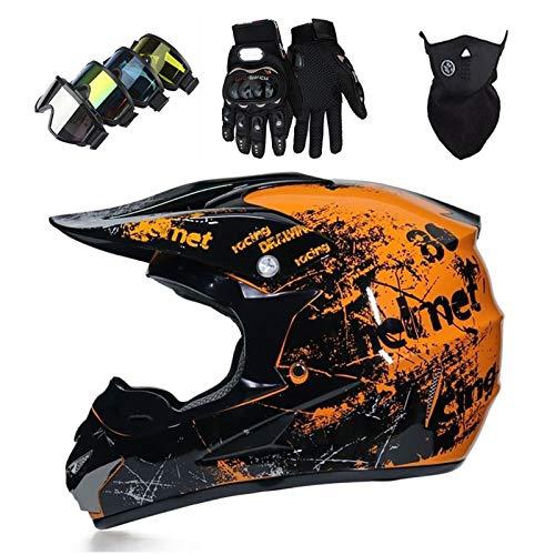 Cascos Integrales Infantil con Guantes Gafas Máscara, Aprobado DOT Conjunto Casco Motocross Motocicleta Adultos Casco protector Offroad Dirt Bike