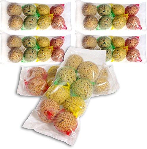 48 Boules de Graisse avec Filet - 4 variétés différentes - Nourriture grasse pour Oiseaux Sauvages - 4320 g