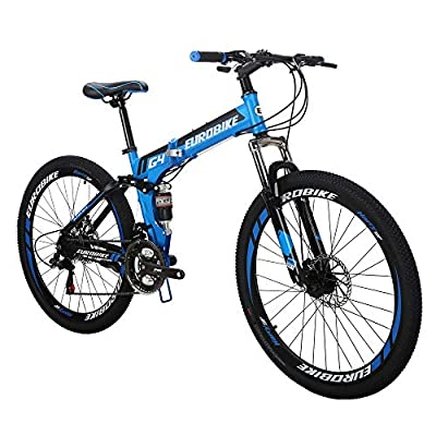 EUROBIKE EURG4 Mountain Bike 21 Speed 26 Inches Dual Suspension Folding Bike Dual Disc Brake MTB Bicycle Blue
