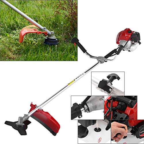 52cc 2 in 1 Brush Cutter Grass, Weeder Hedge Trimmer Gas Petrol Strimmer Lawn Mower for Home and Garden Outdoor Maintenance Tools【US Stock】 (Red)