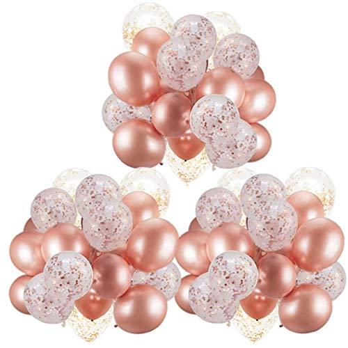 Hiinice Globo de la decoración de Oro Rosa de 12 Pulgadas Globo de látex Conjunto con Lentejuelas Cintas para Bodas cumpleaños Fiestas de Navidad Festival de 62pcs