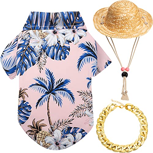 3 Pieces Pet Dog Hawaiian Shirt Summer Cool Puppy T-Shirts Puppy Hawaiian Beach Outfit with Pet Summer Straw Hat and Golden Chain Collar for Small to Large Dog (Pink,Coconut Tree)