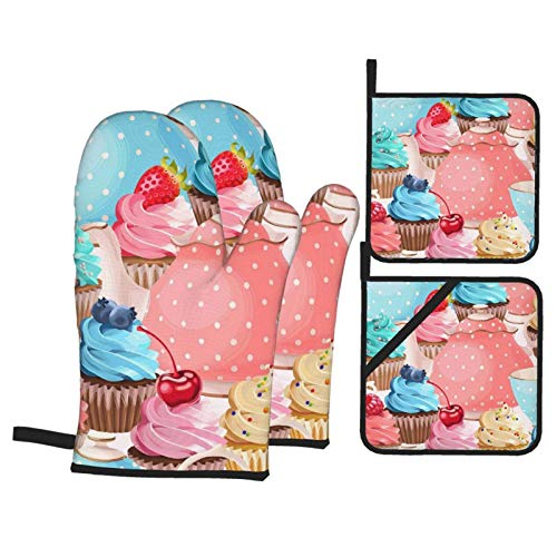 Pnnud Painting Teacups Cupcake Oven Mitts and Pot Holders Set of 4,Cotton Lining with Non-Slip Hot Pads,Heat Resistant Microwave Gloves for Cooking Baking Grilling BBQ Decorative Kitchen