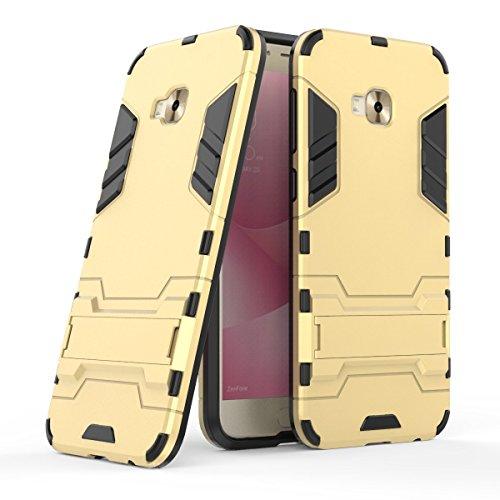 MaiJin Hülle für Asus ZenFone 4 Selfie Pro ZD552KL (5,5 Zoll) 2 in 1 Hybrid Dual Layer Shell Armor Schutzhülle mit Standfunktion Hülle (Gold)