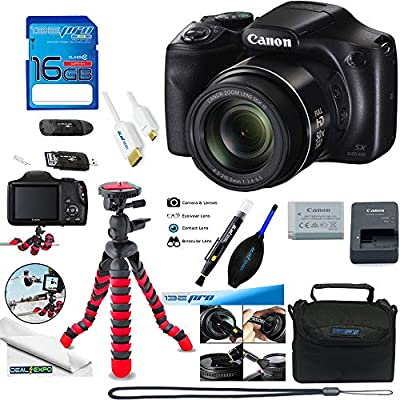 Canon PowerShot SX540 HS with 50x Optical Zoom and Built-in Wi-Fi + Deal-Expo Essential Accessories Bundle by Deal-Expo