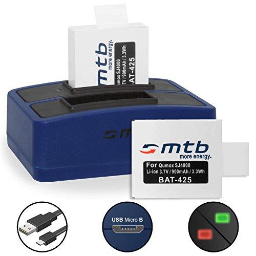 2 Baterías + Cargador Doble (USB) para cámara Deportiva Qumox SJ5000(+), SJ5000X, SJ4000(+) / SJCam M10(+), X1000. - Contiene Cable Micro USB
