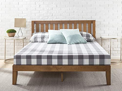 Zinus Cama de plataforma de madera con cabecero Alexia de 30,5cm, Base para colchón, Sin necesidad de usar un somier, Sólido soporte de listones de madera, Fácil montaje, 90 x 190 cm