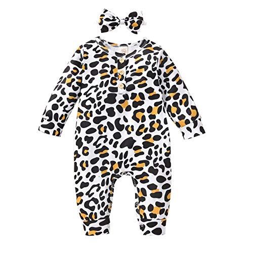 Mono de primavera para bebé, manga larga, para niñas, con estampado de leopardo, costuras redondas, mezcla de algodón para niños, fácil de llevar, arco + mono multicolor 12-18 Meses
