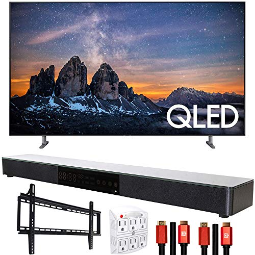 Samsung QN65Q80RAFXZA 65 inch Q80 QLED Smart 4K UHD TV 2019 Model Bundle with Home Theater Surround Sound 31 inch Soundbar, 6-Outlet Surge Adapter, Flat Wall Mount Kit and 2X HDMI Cable