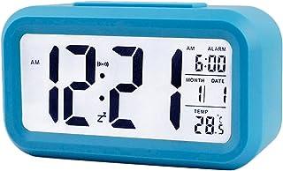 TXY LED Digital Alarm Clock Backlight Snooze Mute Calendar Desktop Electronic Bcaklight Table Clocks Desktop Clock (Blue)