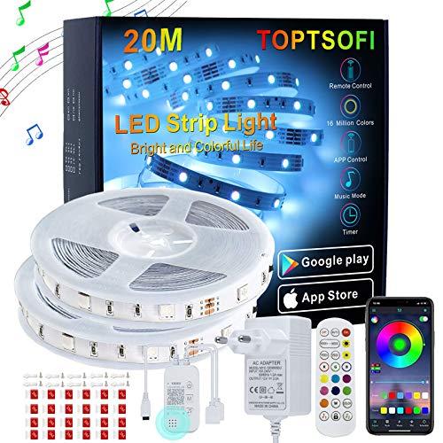 LED Strip 20m, TOPTSOFI Musik Sync LED Streifen Beleuchtung 5050 RGB LED Band, Bluetooth APP-Steuerung LED Lichterketten für Deko Schlafzimmer Hause Küche, Led Licht Leiste mit 3-Wege Steuerung