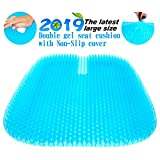 Gel Seat Cushion, 2019 the Latest Large Size Honeycomb Design Cushion Double Thick Seat Cushion with Non-Slip Cover Super Breathable Gel Cushion for Back Painr Home Office Chair Car Wheelchair