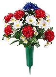 "OakRidge Patriotic Memorial Bouquet, Silk Floral Indoor/Outdoor Décor, 21"" High"