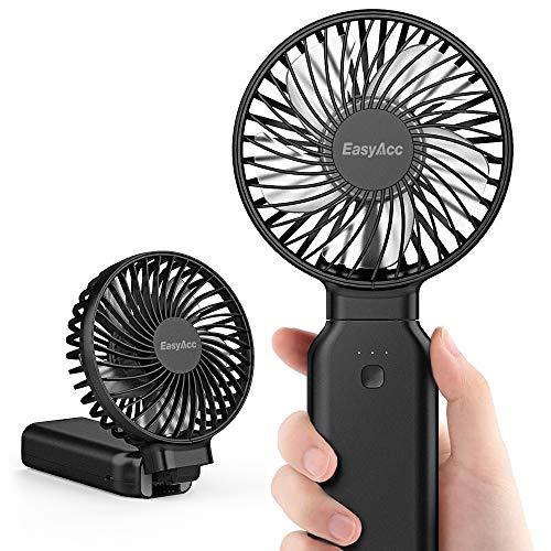EasyAcc Handventilator 9000mAh Batterie Ventilator Tragbarer Mini Lüfter Elektrischer 53 Stunde - Aufladbarem Batterie Faltbar Kompatibel mit Laptop Multi Port Steckdose für Reisen und Zuhause Schwarz