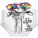 Netter Giraffen-Regenbogen-Sommer-Selbstoffener Regenschirm Sun-Regen-Regenschirm Anti-UV, der kompakten automatischen Regenschirm faltet