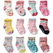 12 Pairs Toddler Girl Non Skid Socks Cute Cotton with, 12 Pairs, Size 3-5 Years