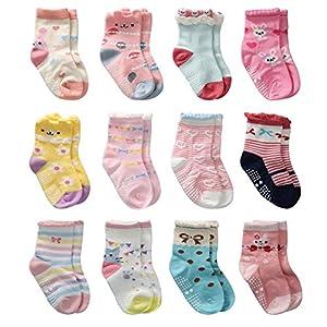 Cottock 12 Pares de Calcetines Antideslizantes para Niñas Pequeñas Algodón Lindo con Puños, Calcetines Antideslizantes para Piñas Pequeñas (12 pares, 1-3 años)