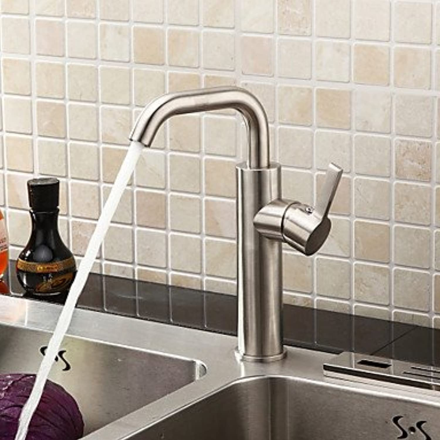Bari-Sprinkle by Lightinthebox - Brushed Chrome Finish Stainless Steel Contemporary Kitchen Faucet