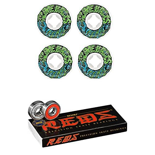Slime Balls Skateboard Wheels 54mm Vomit Mini 97A White/Green Bones Reds Bearings
